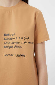 T-shirts-Loreak - Ss Loose Printed Ts Untitled Confort Jersey Camel-