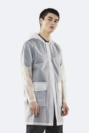 Vestes et Manteaux-Rains – Hooded Coat Foggy White – Veste Longue Imperméable Unisexe Blanc Transparent-