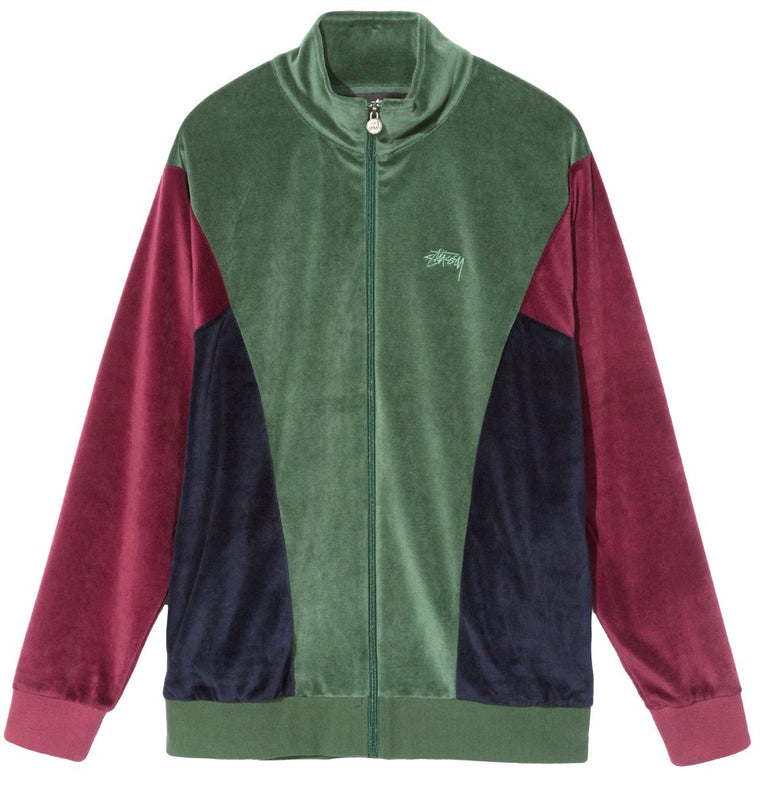 Stussy - Velour Paneled Track Jacket - Veste zip en velours