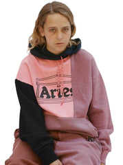 Aries Arise - Overdyed Colourblocked Hoodie Salmon Pink - UNISEXE-Pulls et Sweats-SRAR20800