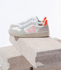 Chaussures-Veja - V10 BMesh White Petal Orange Fluo
