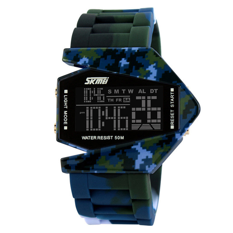 SKMEI SKM0817-Blue Camo Aircraft Shape Black Resin Strap Watch