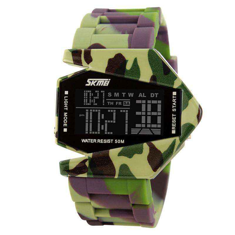 SKMEI SKM0817- Green Camo Aircraft Shape Black Resin Strap Watch