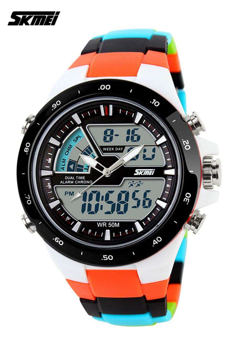 SKMEI AD1016 Colorful (Orange) with PU Strap Watch for Men