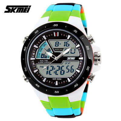 SKMEI AD1016 Colorful (Green) with PU Strap Unisex Watch