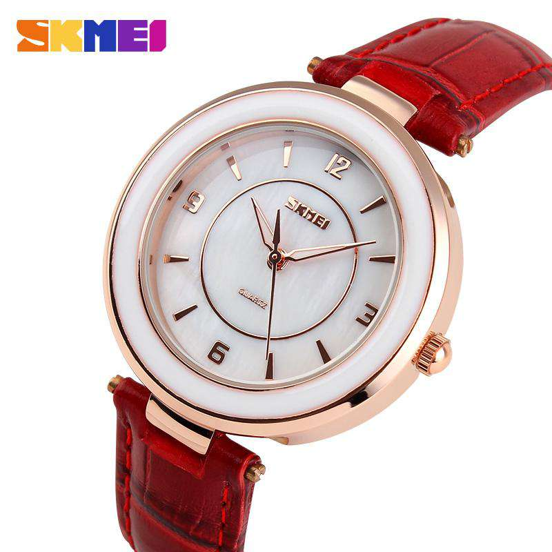 SKMEI 1059 Dark Red Leather Strap Watch for Women