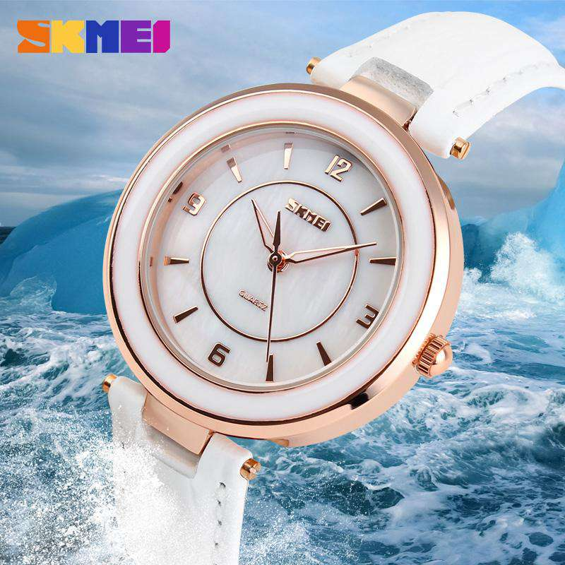 SKMEI 1059 White Leather Strap Watch for Women