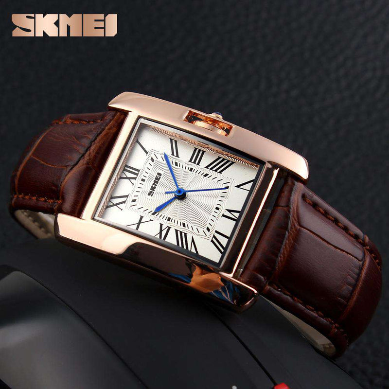 SKMEI 1085 Brown Leather Strap Watch for Women