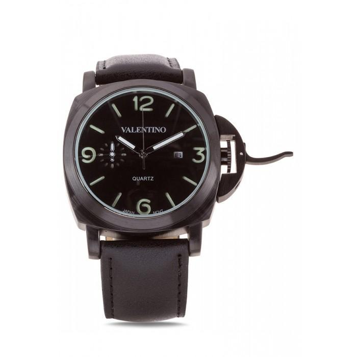 Valentino 20121907-BLACK BK - BLACK DIAL PANERAI IP LTHR STYLE LEATHER STRAP Watch For Men - Watchportal Philippines