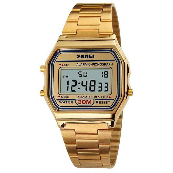 SKMEI 1123 Gold Unisex Stainless Steel Watch