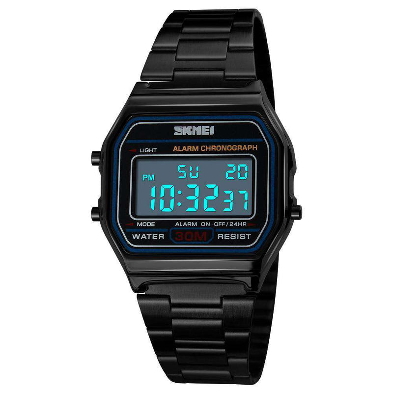 SKMEI 1123 Black Unisex Stainless Steel Watch