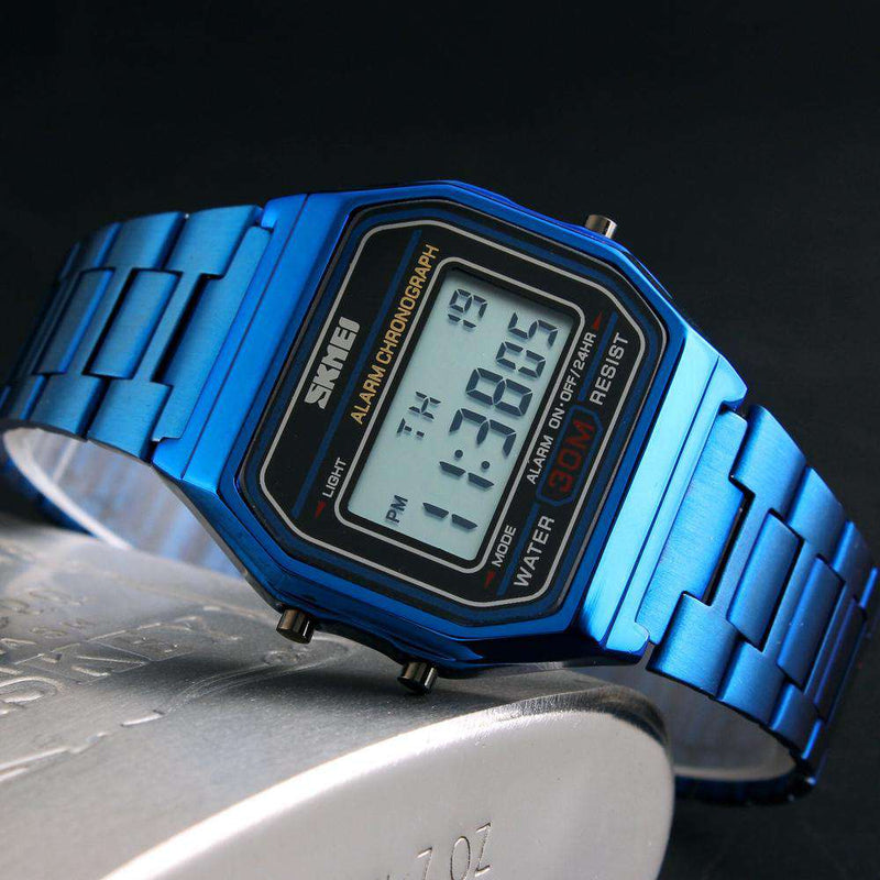 SKMEI 1123 Blue Unisex Stainless Steel Watch