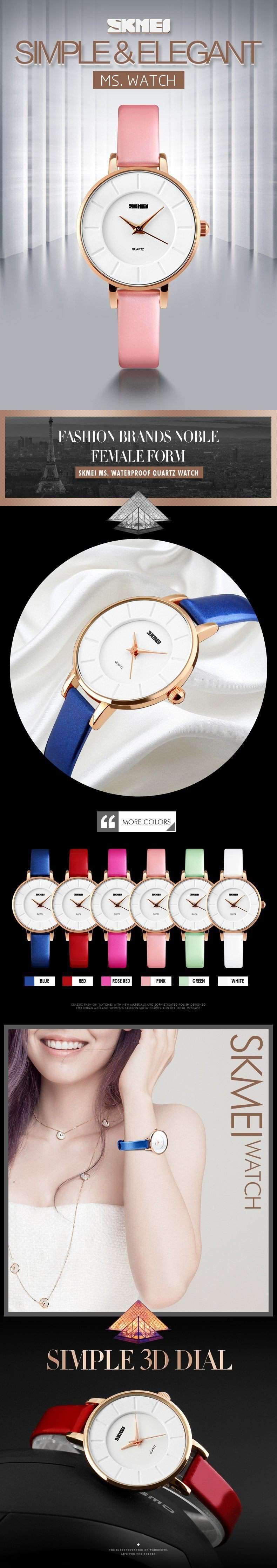 SKMEI 1178 Pink Leather Strap Watch for Women
