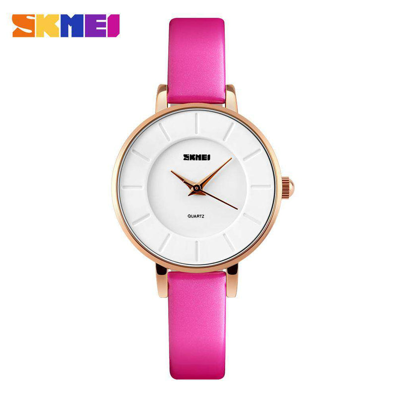SKMEI 1178 Rose Red Leather Strap Watch for Women