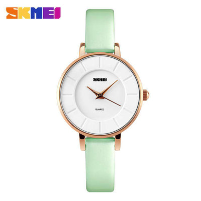 SKMEI 1178 Green Leather Strap Watch for Women