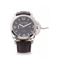 Valentino 20121907-BLACK SIL - BLACK DIAL PANERAI IP LTHR STYLE LEATHER STRAP Watch For Men - Watchportal Philippines