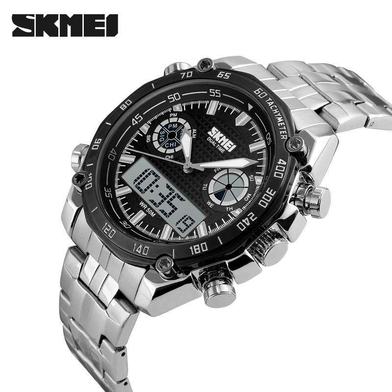 SKMEI 1204 Black Stainless Steel Strap Watch for Men