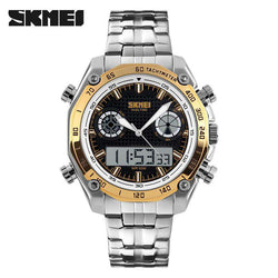 SKMEI 1204 Gold Stainless Steel Strap Watch for Men