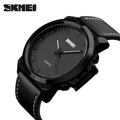 SKMEI 1208CL Black Leather Strap Watch for Men - Watchportal Philippines