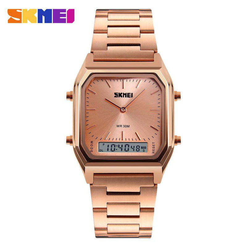 SKMEI 1220 Rose Gold Stainless Steel Unisex Watch