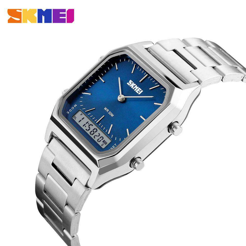 SKMEI 1220 Silver/Blue Stainless Steel Unisex Watch