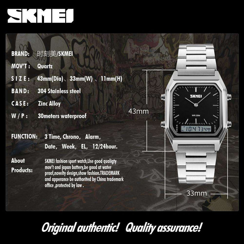 SKMEI 1220 Silver/Black Stainless Steel Unisex Watch