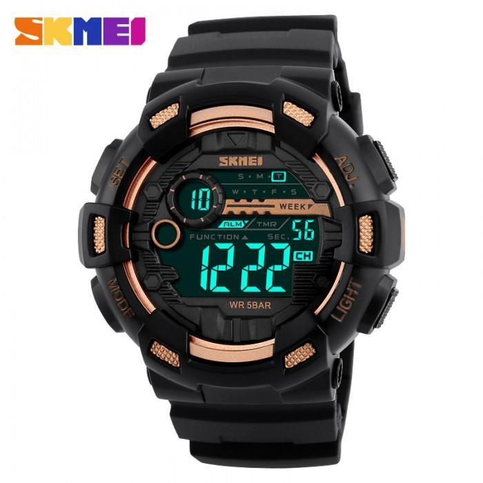 SKMEI 1243 Gold with Rubber Strap Watch for Men - Watchportal Philippines
