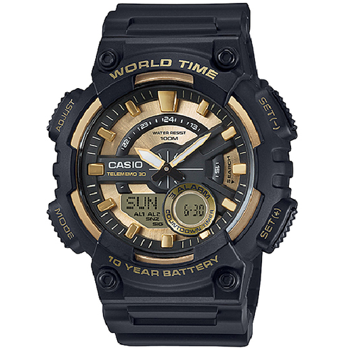 Casio AEQ-110BW-9A Black Resin Strap Watch for Men - Watchportal Philippines