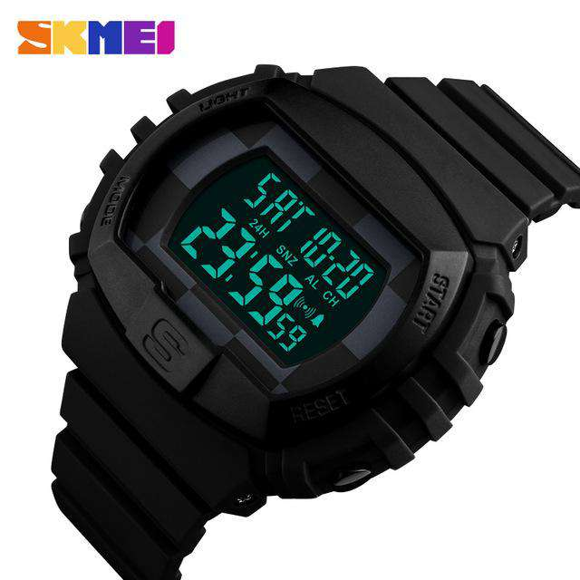 SKMEI 1304 All Black Rubber Strap Watch for Men
