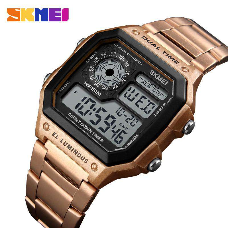 SKMEI 1335 Rose Gold Stainless Steel Watch for Men