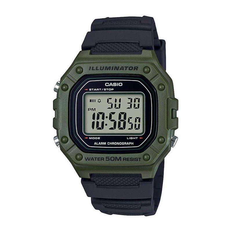 Casio W-218H-3A Green Resin Watch for Men