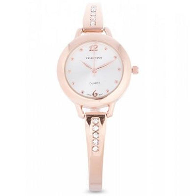 Valentino 20121981-SILVER DIAL ROSE GOLD FASHION METAL ALLOY STRAP Watch for Women
