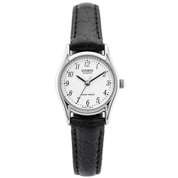 Casio LTP-1094E-7BRDF Black Leather Strap Watch for Women