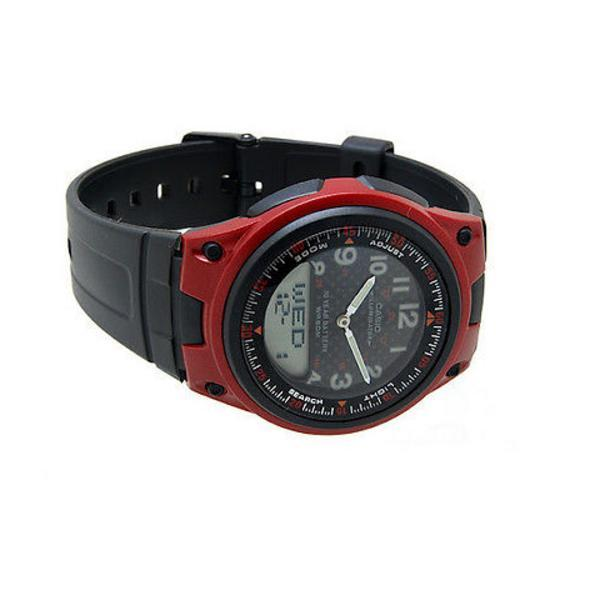 Casio Standard Men's Red Dial/ Black Resin Strap Watch- AW-80-4B - Watchportal Philippines