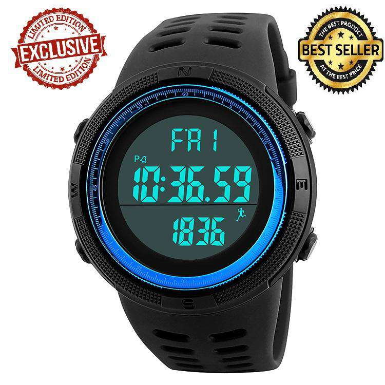SKMEI DG1349 Black/Blue with PU Strap Watch For Men
