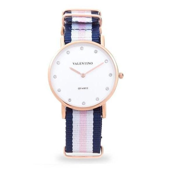 Valentino 20121902-Dblue Wht Pink - Stone D Wellington RG L Nylon Strap Watch For Women