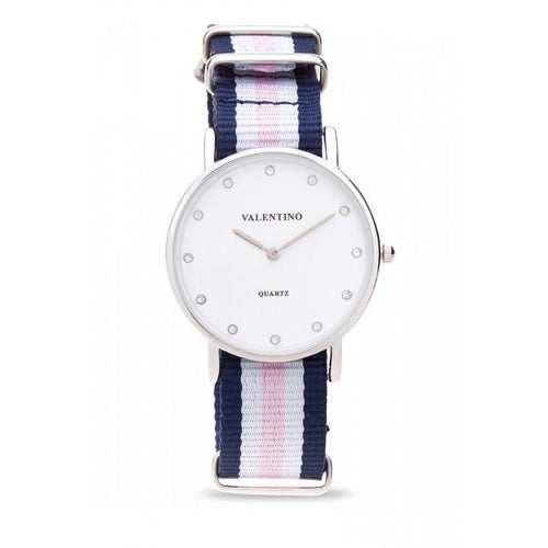 Valentino 20121904-DBLUE WHT PINK - STONE  NYLON STRAP Watch For Women