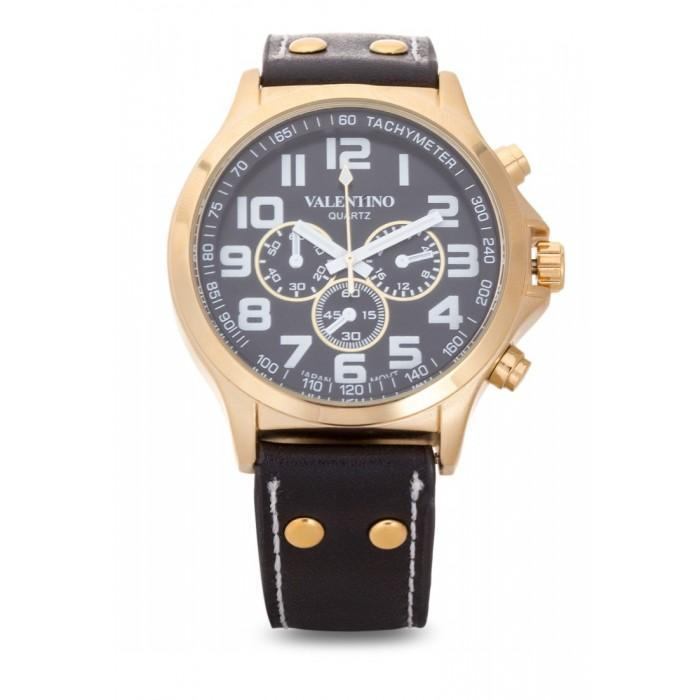 Valentino 20121929-GD CASE - BLK DIAL CLASSIC TW STL LTHR IPG&B LEATHER STRAP Watch For Men
