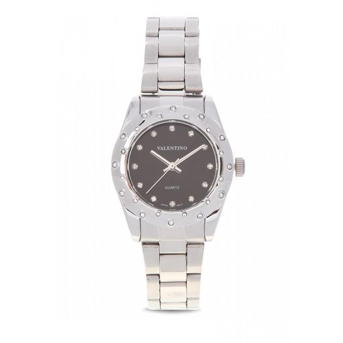 Valentino 20121975-Black Silver stainless Band Watch For  Women