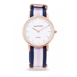 Valentino 20121902-Dblue Wht Pink - Line D Wellington RG L Nylon Strap Watch For Women