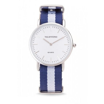 Valentino 20121904-Dblue Wht - Line  Nylon Strap Watch For Women