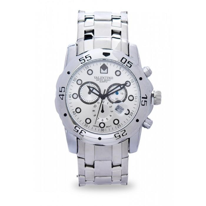 Valentino 20121884-WHITE - SILVER DIAL ORIENT CLSC WD IPS STYLE STAINLESS BAND STRAP Watch for Men