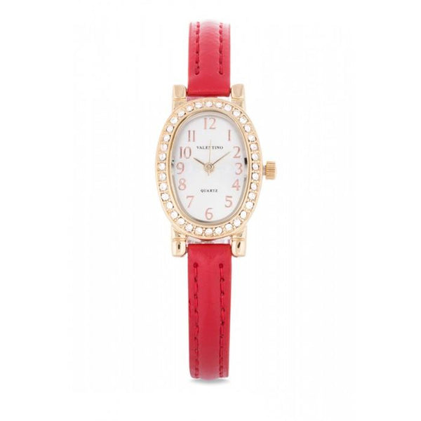 Valentino 20121976-RED - RED LEATHER STRAP Watch For Women