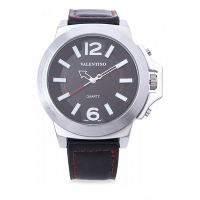Valentino 20121947-WHITE INDEX BLACK LEATHER STRAP Watch For Men