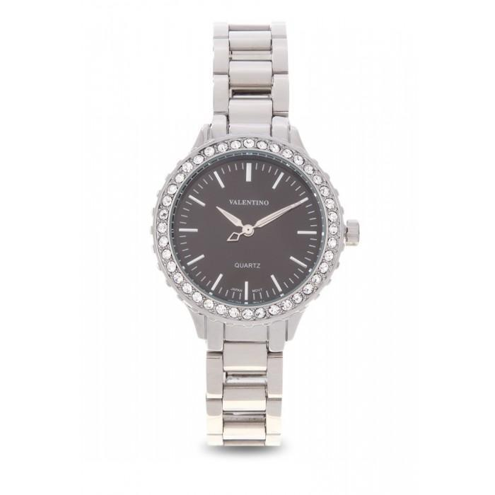 Valentino 20121961-SILVER  - BLACK DIAL SILVER STAINLESS BAND  Watch For Women