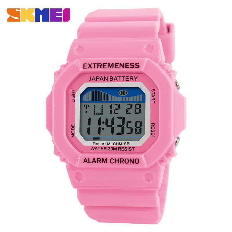 SKMEI 6918 Light Pink Unisex Plastic Strap Sports Watch