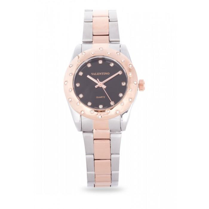 Valentino 20121974-TWO TONE - BLACK DIAL TWO TONE STAINLESS BAND Watch For Women