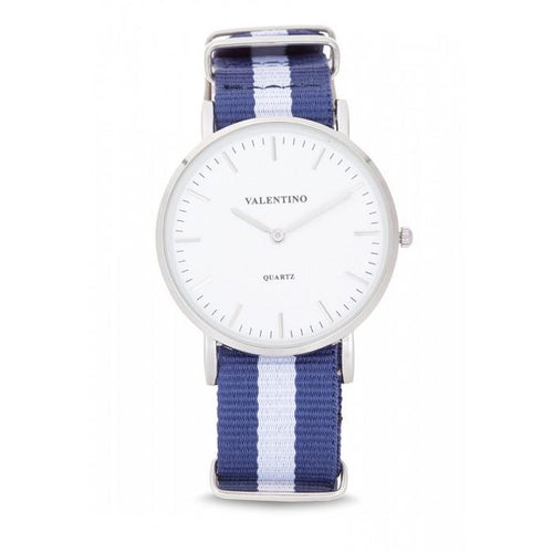 Valentino 20121903-DBlue Wht Nylon Strap Watch For Men