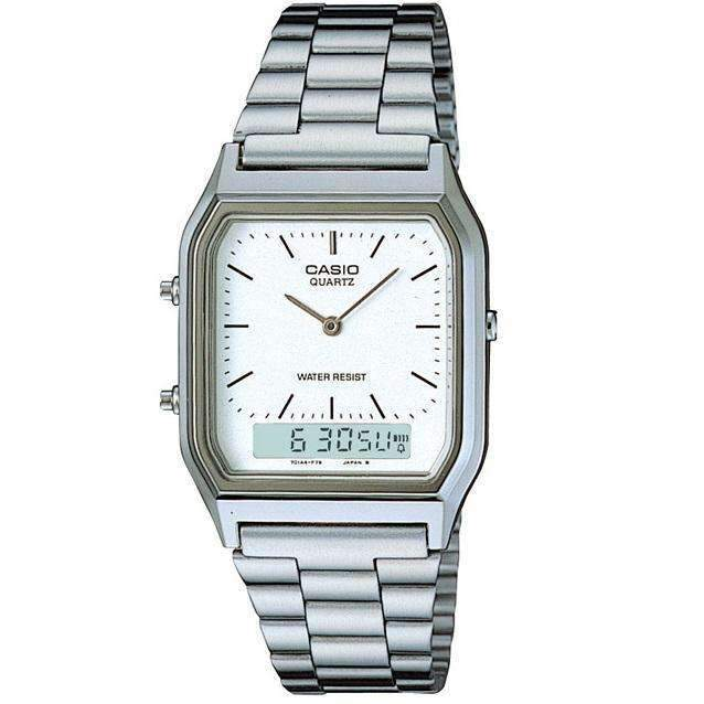 Casio Vintage AQ-230A-7D Silver Stainless Watch Unisex