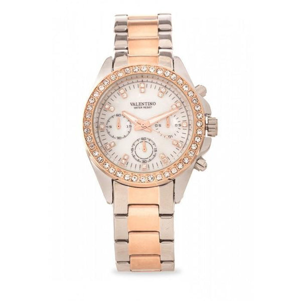 Valentino 20121662-TWO TONE - MOP DIAL EXCALIBUR IP ROSE GOLD STAINLESS STEEL BAND STRAP Watch  for Women